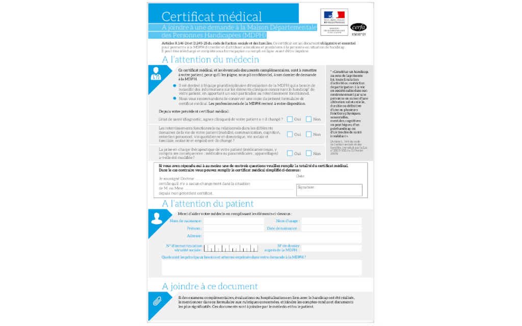 certificat médical MDPH Cerfa 15695 01