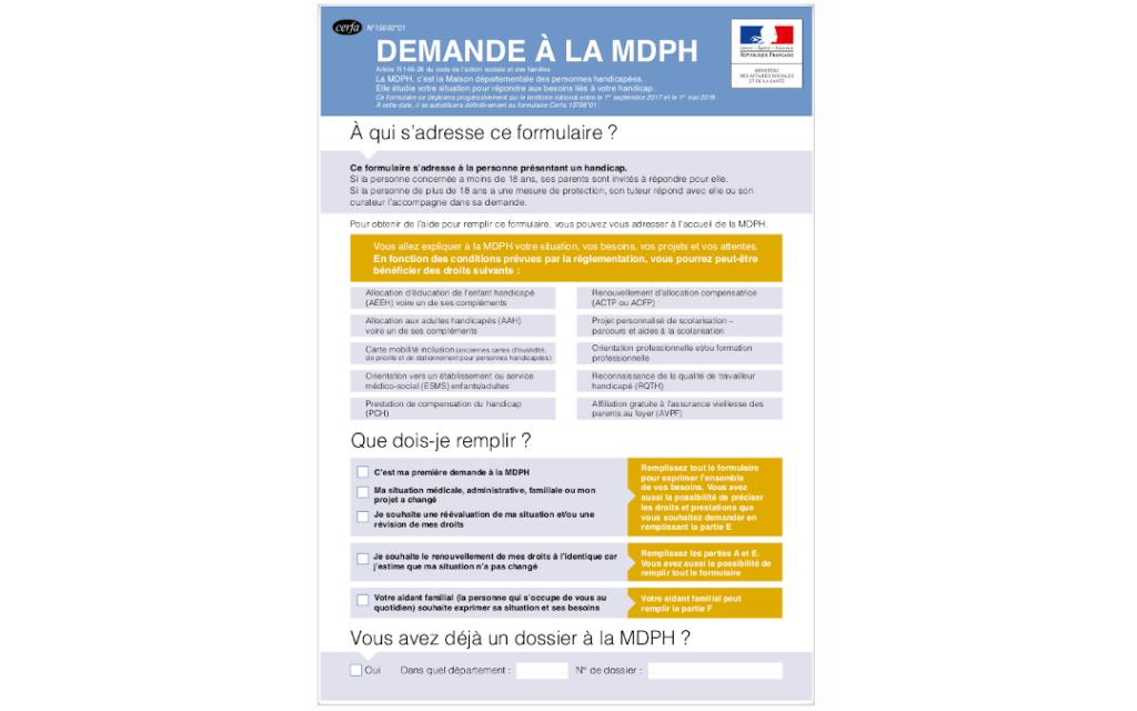 formulaire MDPH Cerfa 15692 1
