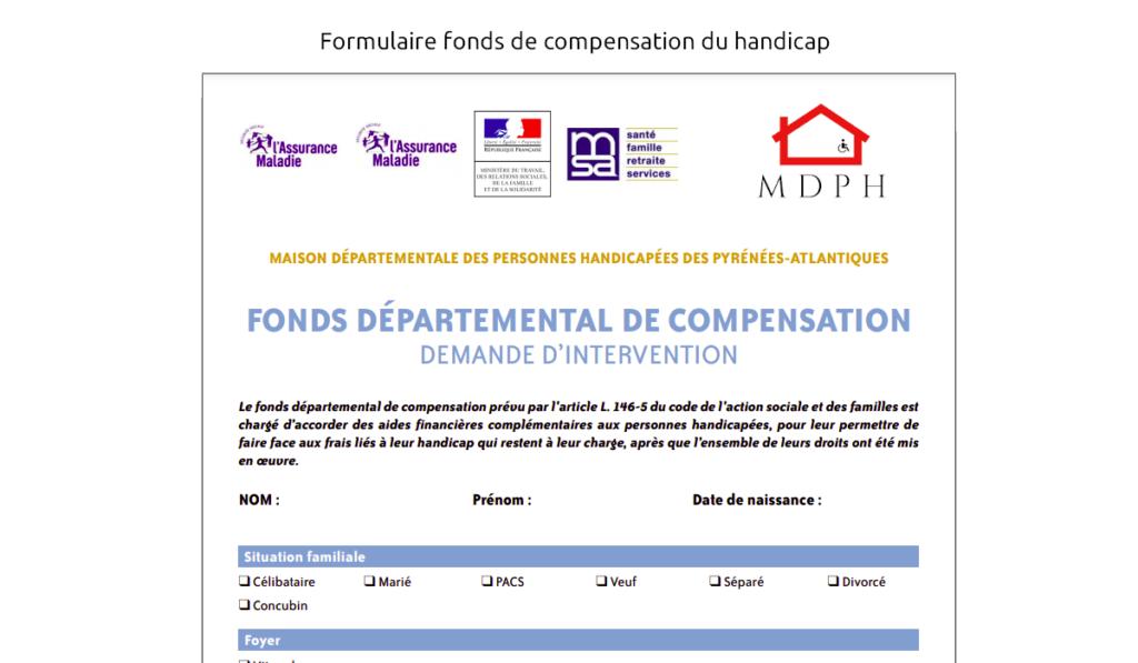 formulaire fonds de compensation du handicap